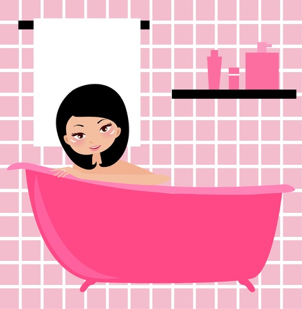 Illustration of a woman taking a bath   Vector
