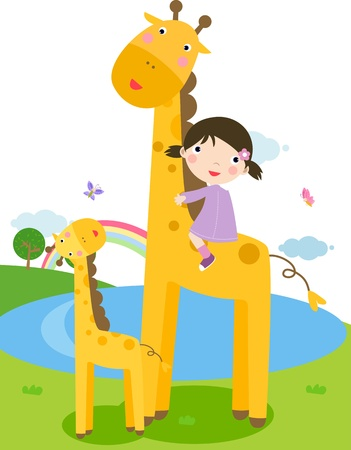 A little girl is sliding down a giraffes neck.