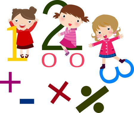 math: Illustration of three girls and math