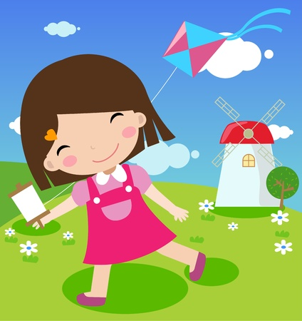 Illustration of funny summer background with the little girl and kite