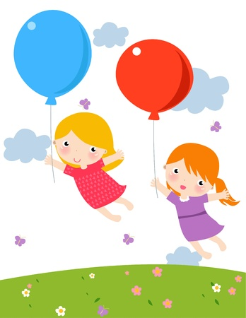 Illustration of two funny girls with balloon