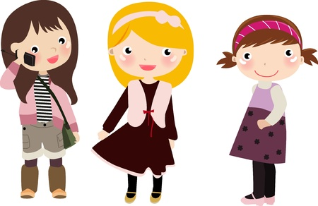three colors: Illustration of three very cute girls,children