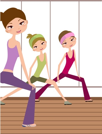 three Young girls doing yoga at living hall  일러스트