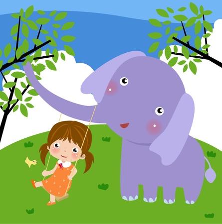 귀여운 소녀와 코끼리의 그림 일러스트