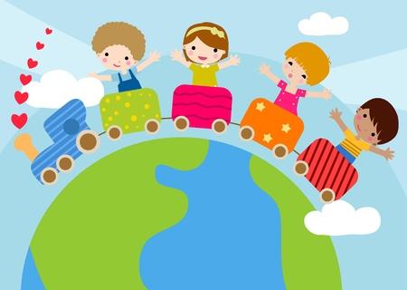 invitaci�n a fiesta: Partido invitaci�n incluye Ni�os montar en un tren de juguete