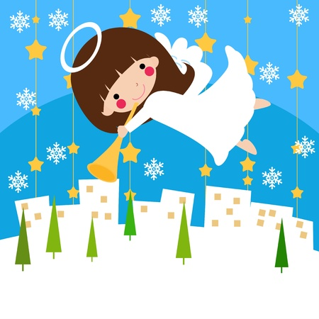Illustration of a cute angel on snow.  Vector