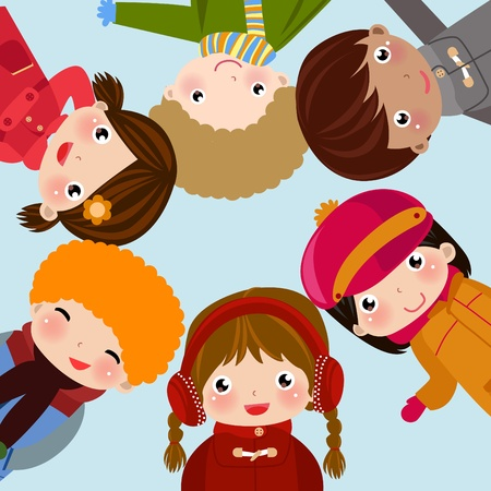 Illustration of group of children,boy and girl Vector