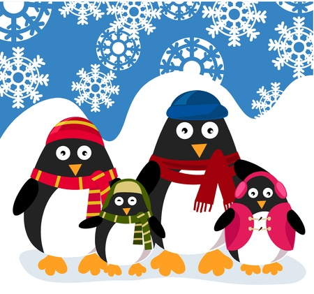 penguins family  Stock Vector - 9774763