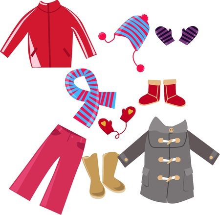 kid shopping: Illustration of very cute child clothes