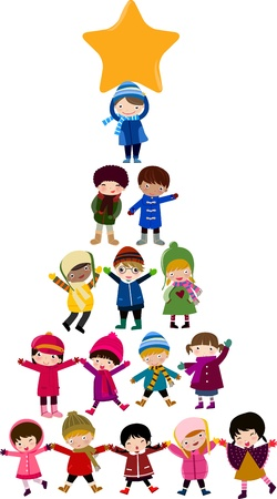 xmas party: Christmas tree cartoon kids