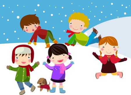 children having fun in snow Vector