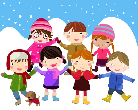 cold cartoon: children having fun in snow