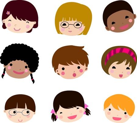 niño y niña: Conjunto de rostros de niños  Vectores