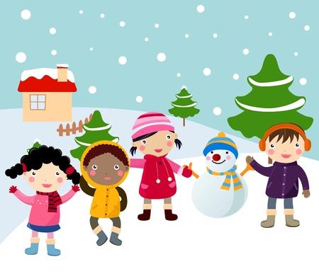 snow man: winter and children