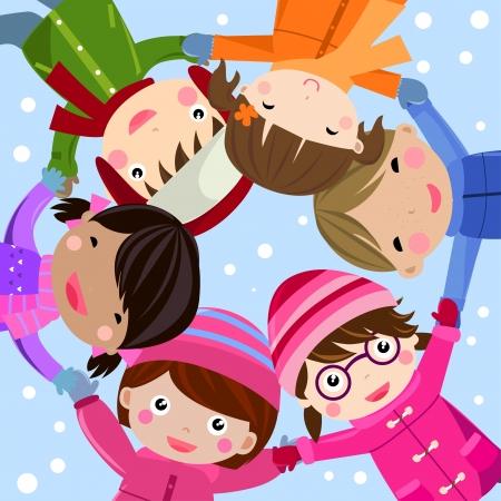winter fun: kinderen  Stock Illustratie