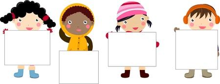 caroling: children and banner Illustration
