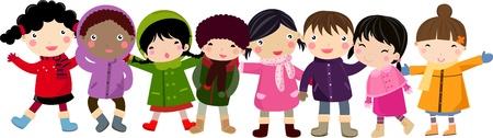 niños dibujando: niños Vectores