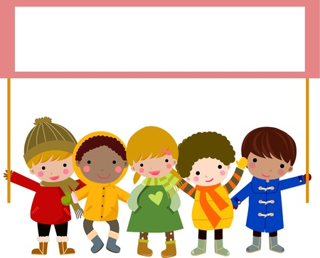 carol singer: children and banner Illustration