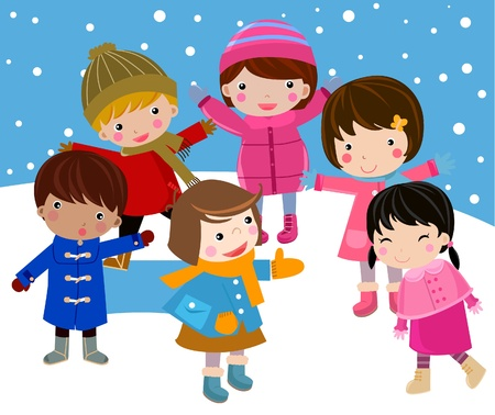 winter and children  Stock Vector - 9775362