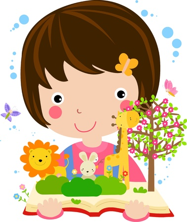 very cute little girl reading book about animal  Stock Vector - 9775353