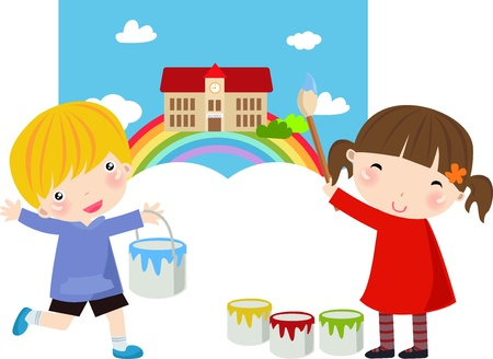 Boy and girl with paint Stock Vector - 8887546