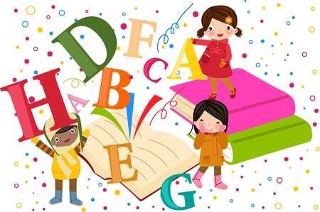 numbers clipart: Kids on an Open Book