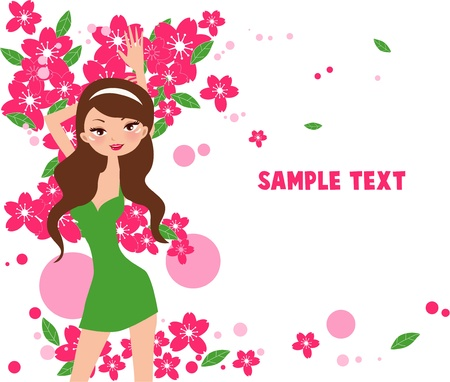 Girl with flowers Stock Vector - 8887676