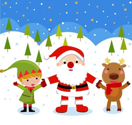 Santa Claus, Reindeer, Elf Stock Vector - 9775358