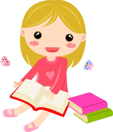 kids reading book:  a young sweet girl child happily reading a book