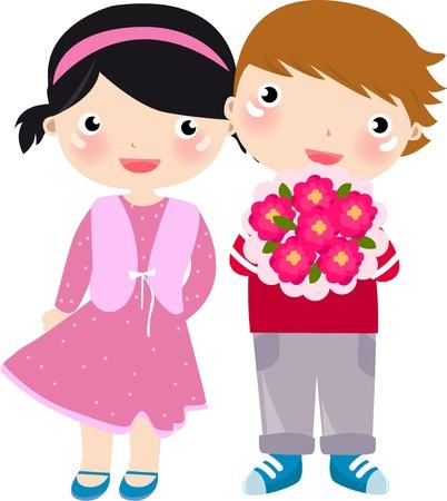 heterosexual couple: Cartoon boy present flowers to girl
