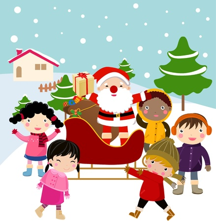 happy children and santa  Vector