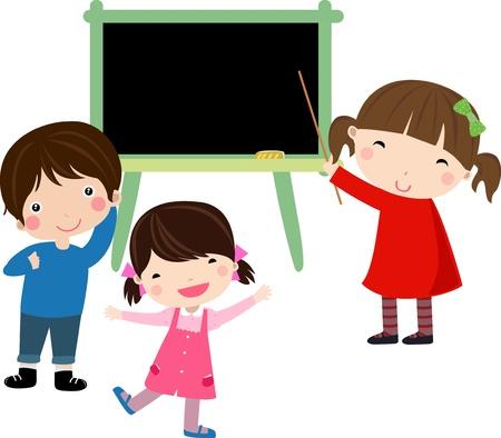 young schoolgirl: School blackboard with children