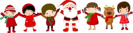 botas de navidad: los ni�os felices y santa