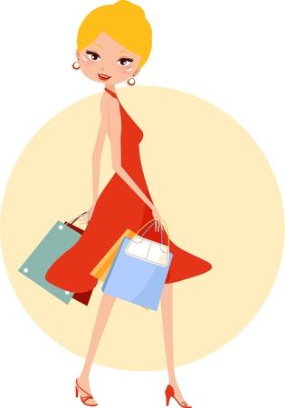 een mooi meisje in een rode jurk met een succesvol winkelen