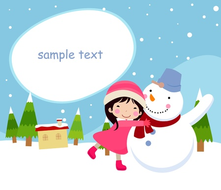 snowman and chilld,wintertime  Stock Vector - 9775367