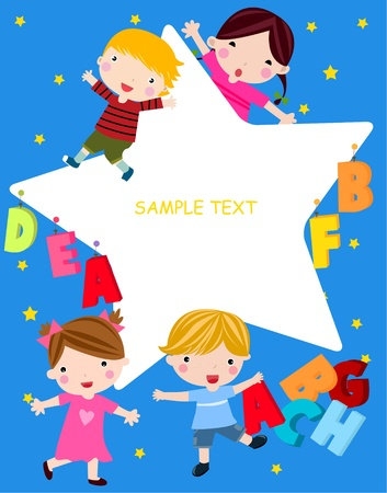 kids and frame Stock Vector - 9775356