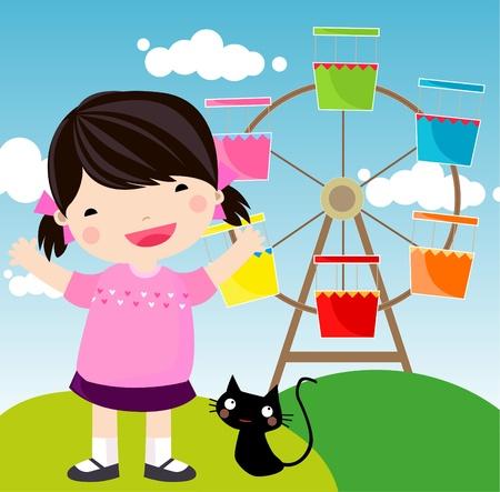 kids in the amusement park