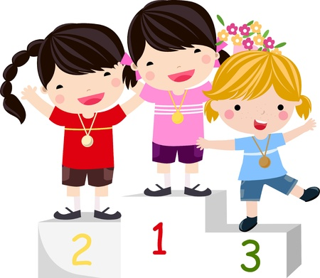 Three smiling girls on the podium  Stock Vector - 9775360