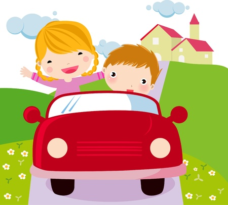 family car: couple riding in a car  Illustration