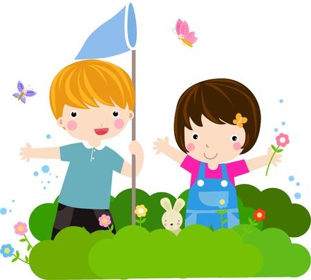 çocuklar: Children catching butterflies in the Park - Vector