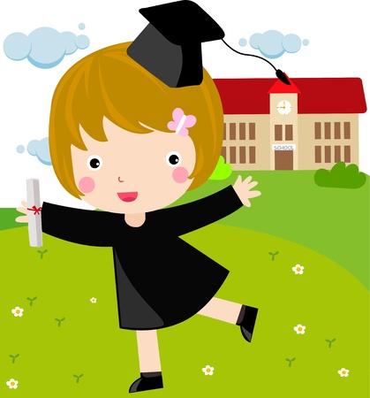 successful student: girl graduate  Vettoriali