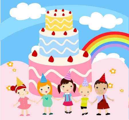 children and cake Vector