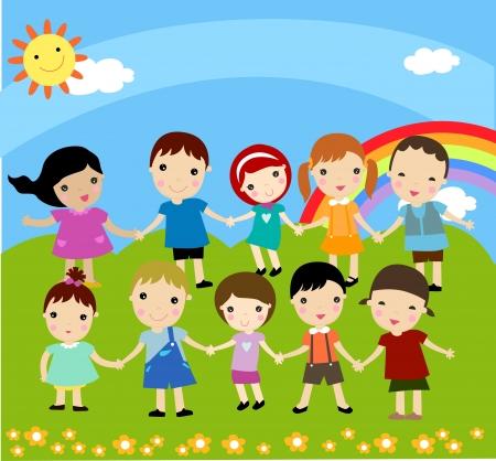 ni�o dibujo animado: Grupo de ni�os felices