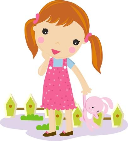 minors: Linda ni�a con un juguete de conejo en sus manos!  Vectores