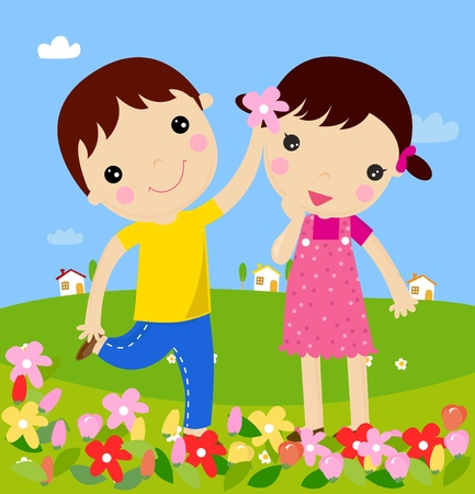 The boy gives flowers to the girl. Vector