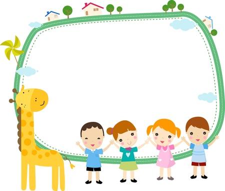 Cute cartoon kids frame Stock Vector - 8887698