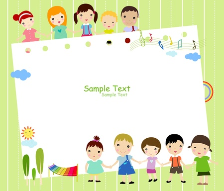 Cute cartoon kids frame Stock Vector - 8887710
