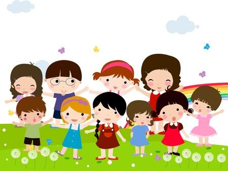ni�os jugando en la escuela: Grupo de ni�os felices