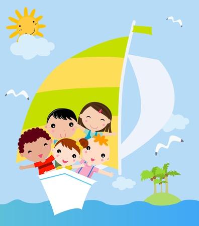 Children floating  Vector