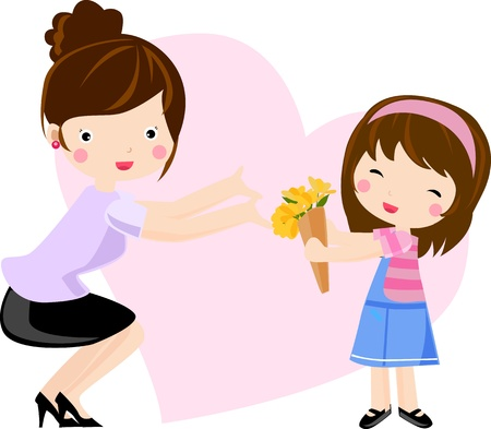 mother and daughter Stock Vector - 8887634